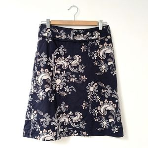 H&M navy blue abstract paisley print skirt, size 6